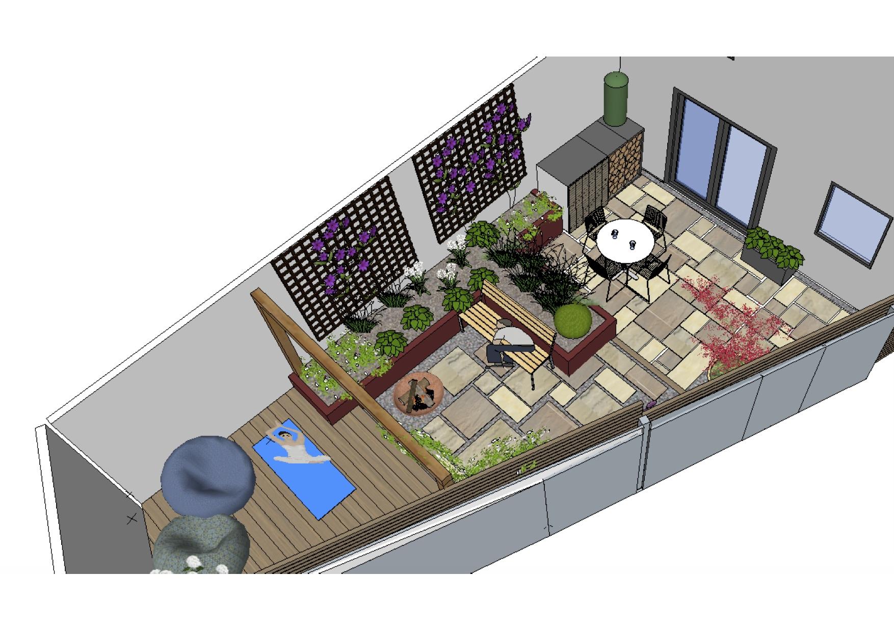 Schematic isotropic view of yoga garden